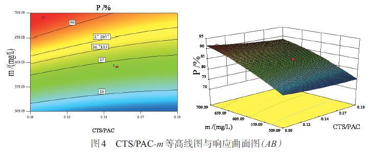 图4 CTS/PAC-m等高线图与响应曲面图(AB)